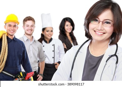 portrait of medical doctor and  patient in the background. worker and employee healthcare insurance concept