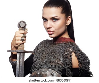 Portrait of a medieval female knight in armour