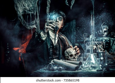 Portrait of a medieval scientist working in his laboratory. Alchemist. Halloween.