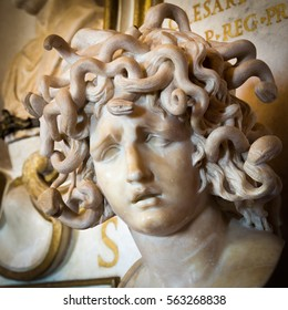 Portrait of Medusa In Greek mythology Medusa was a monster, a Gorgon, generally described as a winged human female with a hideous face and living venomous snakes in place of hair.