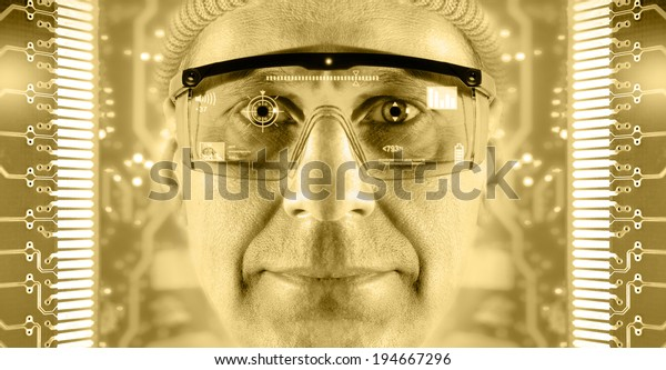 Portrait of men in smart glasses on a electronic circuit board background. Toned gold.
