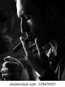 portrait men smoking