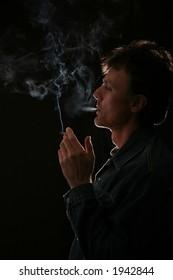 portrait of the men smoking cigarette