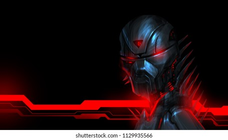 Portrait of a menacing robot with a red glowing cybernetic design on the background