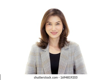 Portrait of middle age 40s Asian woman with little wrinkles and cross on face. Isolated on white background of mature self-confident female in casual business dress. Looking straight to camera.