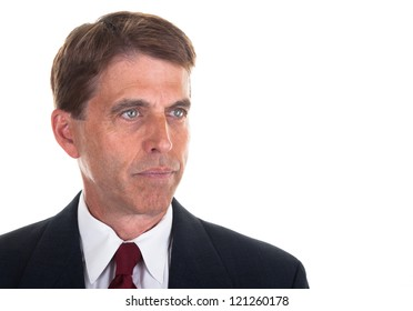 Portrait of a middle aged business man, isolated on white.