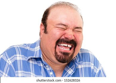 Portrait of a middle-aged Caucasian bearded happy man laughing loud, isolated on white background