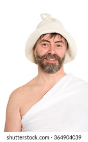 Portrait of middle-aged man dressed in traditional bath. From a series of Russian bath.