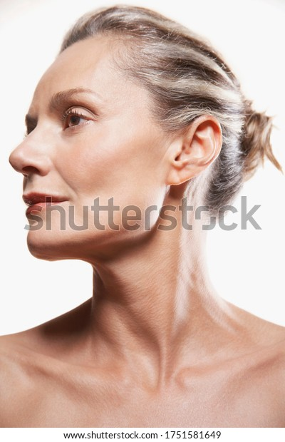 Portrait of Middle-Aged Woman shiny skin