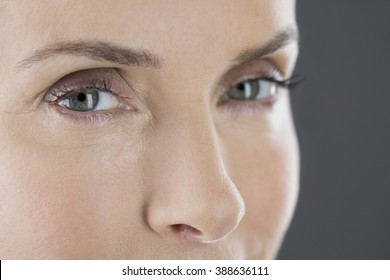 A portrait of a middle-aged woman's face and eyes