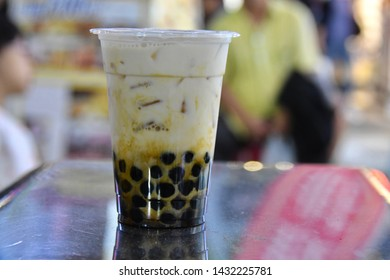 Portrait of the milk tea with black bubble in Taiwan