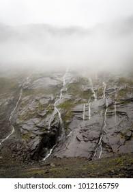 Portrait Misty Waterfalls, Milford Sound, Fiordland National Park