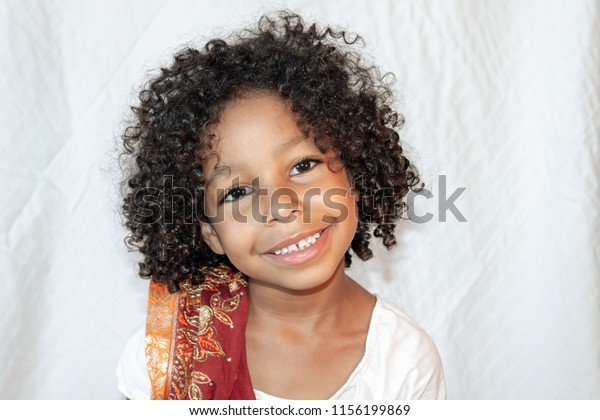Portrait Mixed Little Girl Curly Hair Stock Photo Edit Now