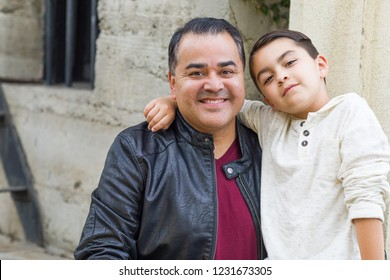 Portrait of Mixed Race Hispanic and Caucasian Son and Father