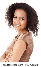 Portrait of modern African American business woman smiling with hands folded
