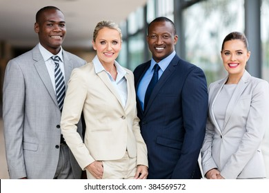 portrait of modern business team inside office building
