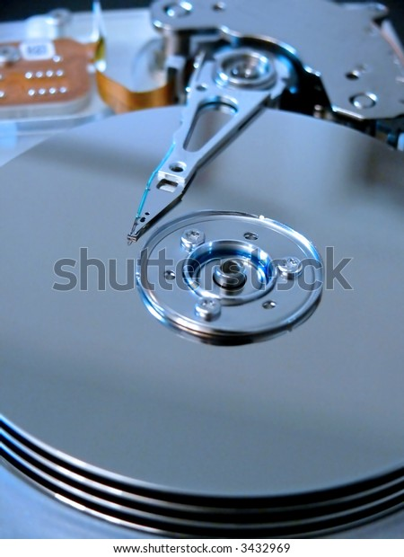 portrait of modern computer harddrive with focus on needle