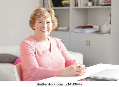 Portrait of modern grandmother with laptop sitting at desk.