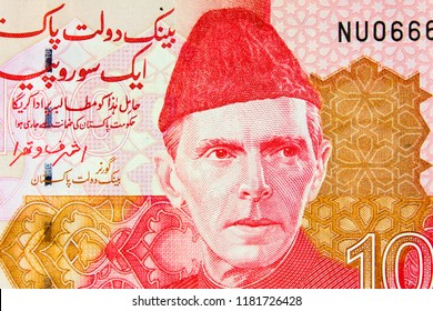 Portrait of Mohammad Ali Jinnah on  banknote Pakistani rupees, close-up.