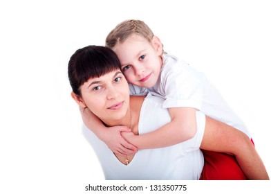 portrait of mom and daughter playing together, isolated on white