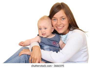 portrait of mother and 8 months daughter isolated on white