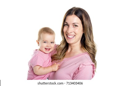 portrait of a mother with baby isolated on white