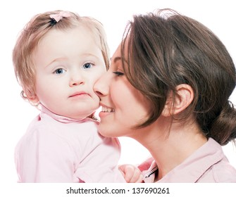 portrait of mother with baby on white background