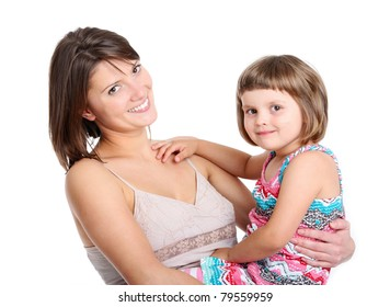 A portrait of a mother and her baby girl smiling over white background