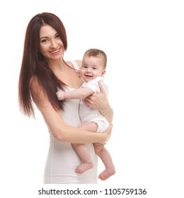 Portrait of mother and her cute baby in white. Happy family concept. Mother holding sweet baby isolated on white background