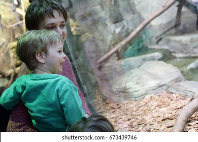 Portrait of a mother with son in the zoo