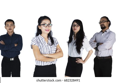 Portrait of multi ethnic business team looking at camera together, isolated on white background
