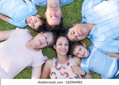 Portrait multi generation family lying head to head in circle on grass, happy relaxed, grandparents, grandkids and their parents.