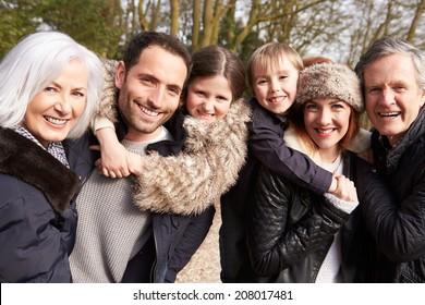 Portrait Of Multi Generation Family On Countryside Walk