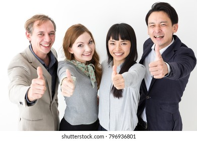portrait of multicultural people on white background