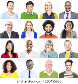 Portrait of Multiethnic Colorful Diverse People