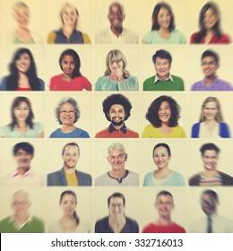 Portrait Multiethnic Colorful Diverse People Ethnic Concept