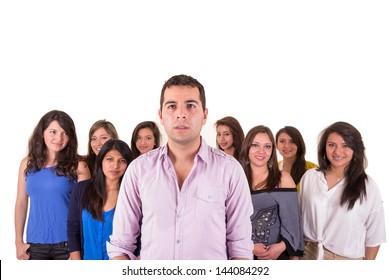 Portrait of multi-ethnic serious hispanic people