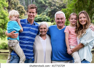 Portrait of a Multi-generation family standing in the park