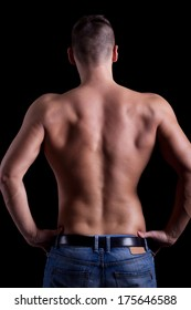 Portrait of a muscular man back naturally built man