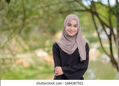 Portrait of Muslim beauty woman wearing hijab