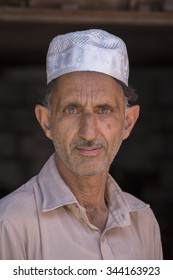 Portrait muslim man in Srinagar, Kashmir, India. Close up