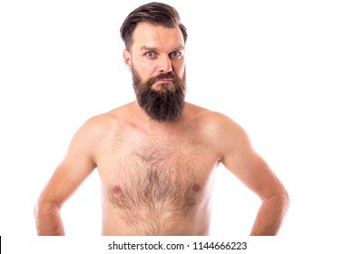 Portrait of a naked bearded man isolated over white background