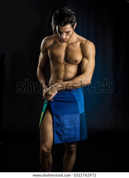 Portrait Naked Handsome Young Man Languishing Stock Photo