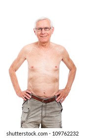 topless old man