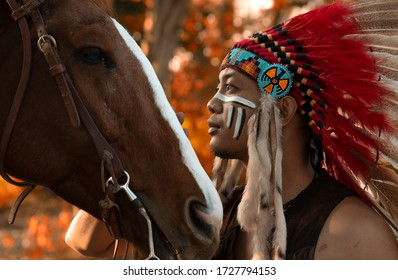 Portrait of a Native American Indian and horse who used to live in Mexico and America.