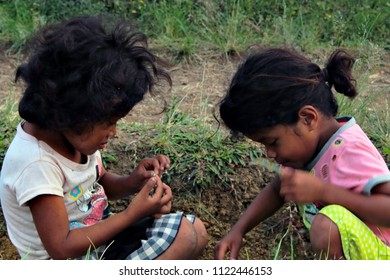 Portrait of Native Tribal Little Children Playing. Taken at Arakan South Cotabato, Philippines. Last April 2018.