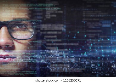Portrait of a nerd boy with eyeglasses and all around you see futuristic technological and cyber graphics. Concept of: future, online security, hacker and connection.