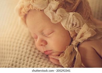 Portrait of Newborn Baby Sleeping in Hat