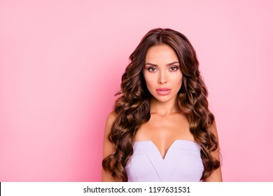 Portrait of nice adorable attractive cute gorgeous positive thoughtful wavy-haired girl with decollete, isolated over pink background