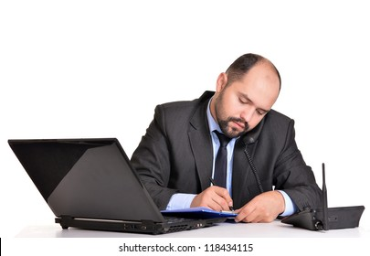 portrait of a nice adult businessman and computer on white